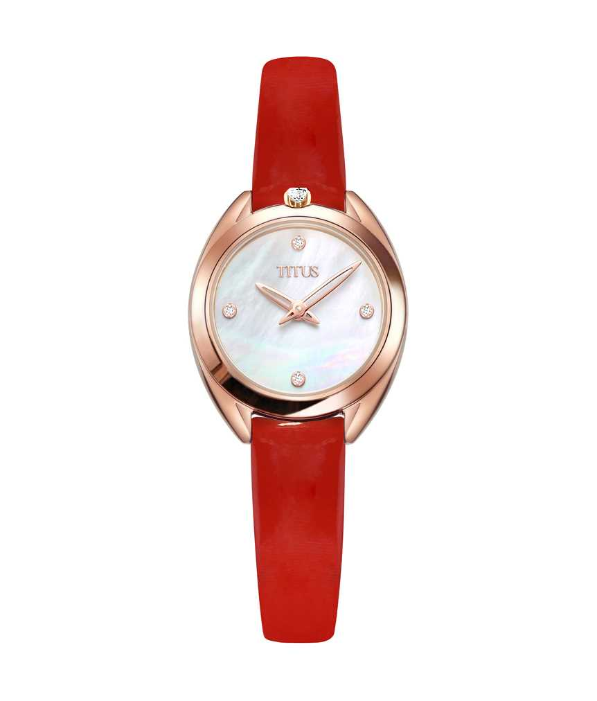 「約定」系列兩針石英皮革鑽石腕錶