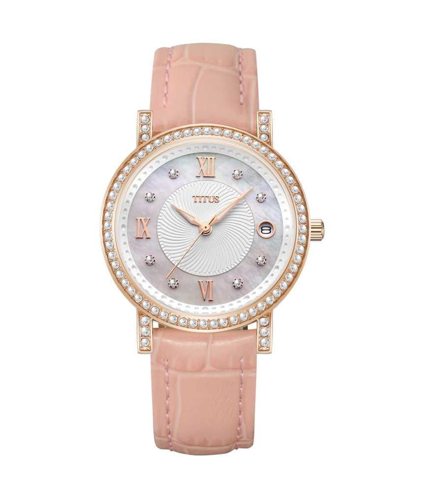 Fair Lady三針日期顯示石英皮革腕錶