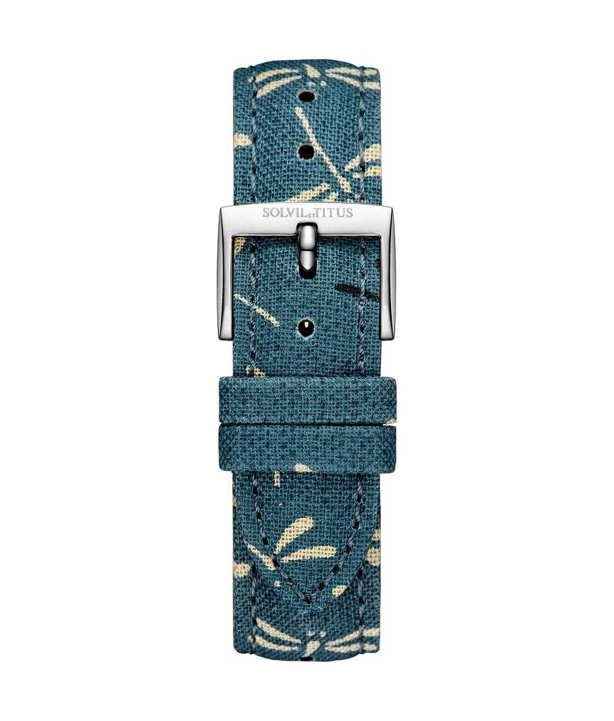 18 mm Dragonfly Indigo Japanese Fabric Watch Strap