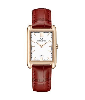 Classicist兩針日期顯示石英皮革腕錶