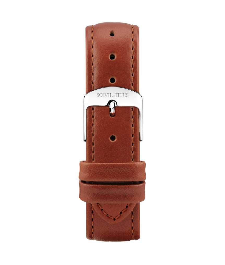 18 mm橙棕色無壓紋小牛皮皮革錶帶