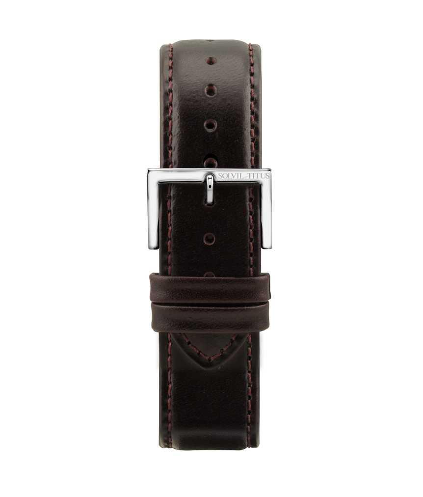 22 mm栗啡色無壓紋小牛皮皮革錶帶