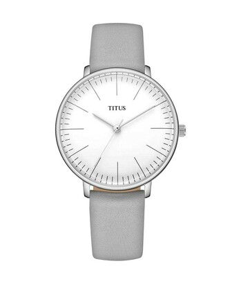 Interlude三針石英皮革腕錶