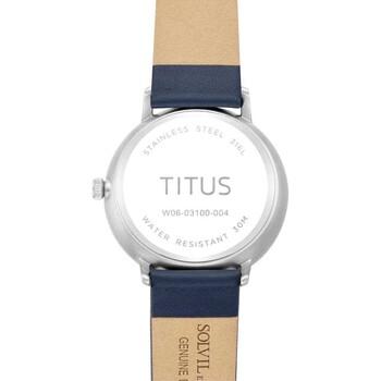 Nordic Tale三針日期顯示石英皮革腕錶
