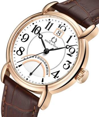 Vintage兩地時間石英皮革腕錶