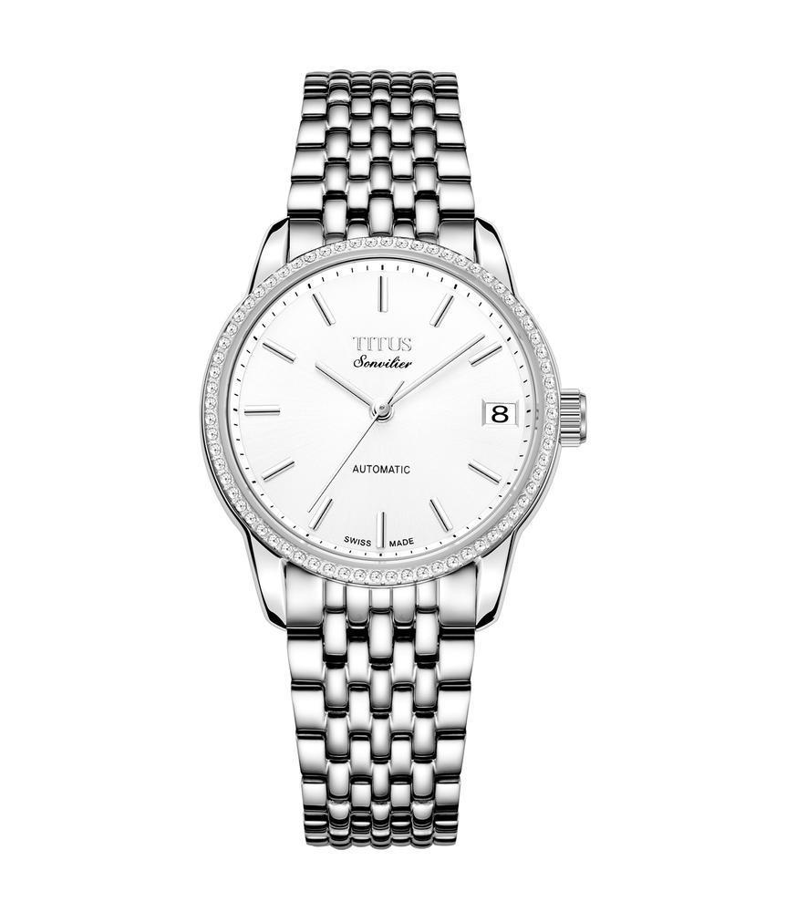 Sonvilier三針日期顯示自動機械不鏽鋼腕錶