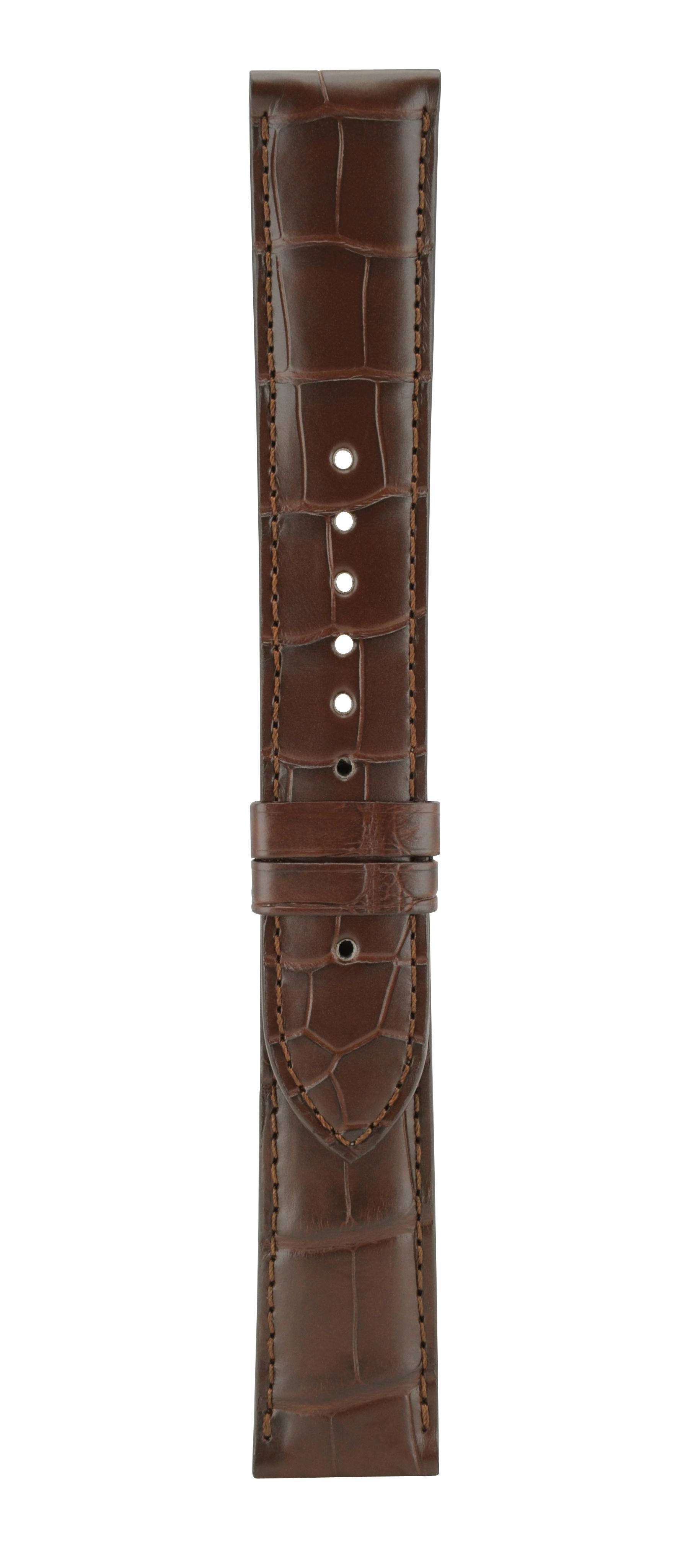 22 mm深啡色鱷魚皮革錶帶