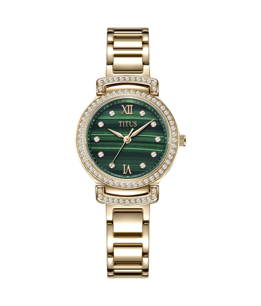 Fair Lady 3 Hands Quartz Stainless Steel Malachite Watch