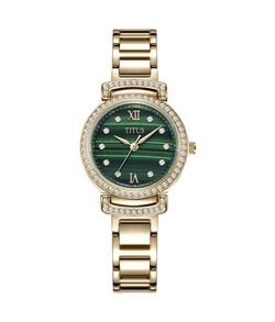 Fair Lady三針石英不鏽鋼孔雀石腕錶