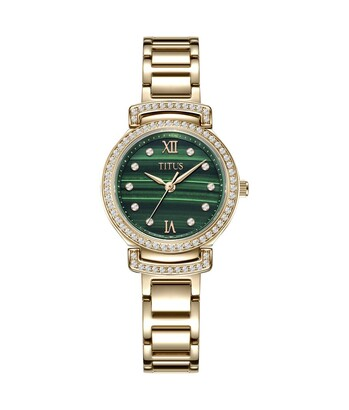 Fair Lady 3 Hands Quartz Stainless Steel Malachite Watch