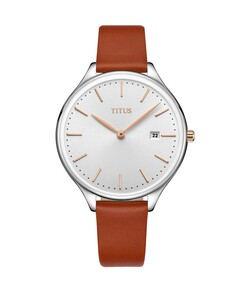 Interlude 2 Hands Date Quartz Leather Watch