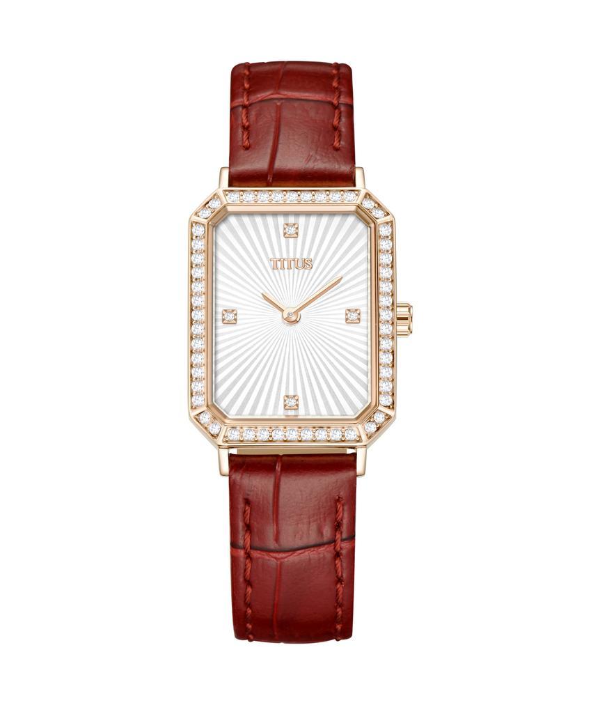 Fair Lady兩針石英皮革腕錶