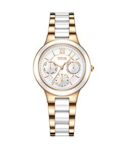Fashionista多功能石英不鏽鋼配陶瓷腕錶