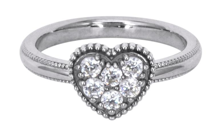 Solvil et Titus 16.2mm Sparkling Heart Ring, Sterling Silver