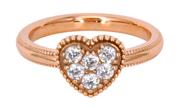 Solvil et Titus 16.2mm Sparkling Heart Ring, Sterling Silver, Rose-Gold Tone Plated