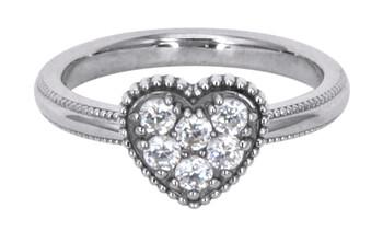 Solvil et Titus 15.6mm Sparkling Heart Ring, Sterling Silver