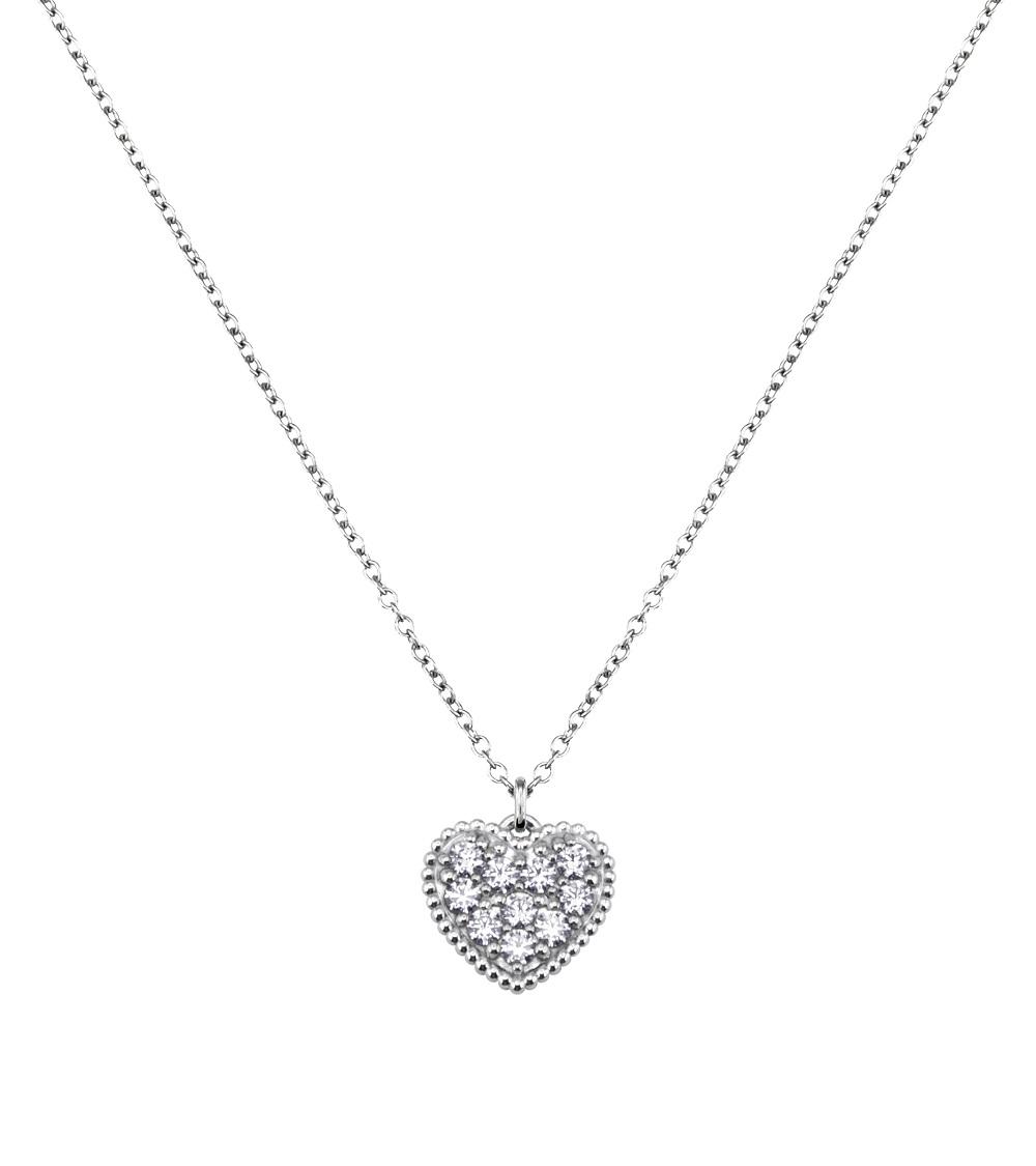 Solvil et Titus Sparkling Heart Necklace, Sterling Silver