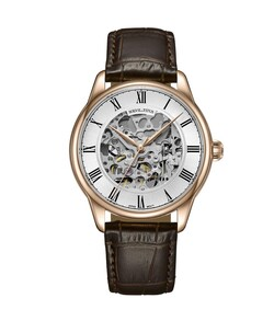 Exquisite三針自動機械皮革腕錶