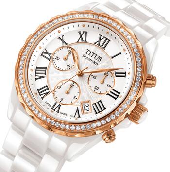 Fashionista Swiss Made Chronograph Quartz Ceramic Diamond Watch