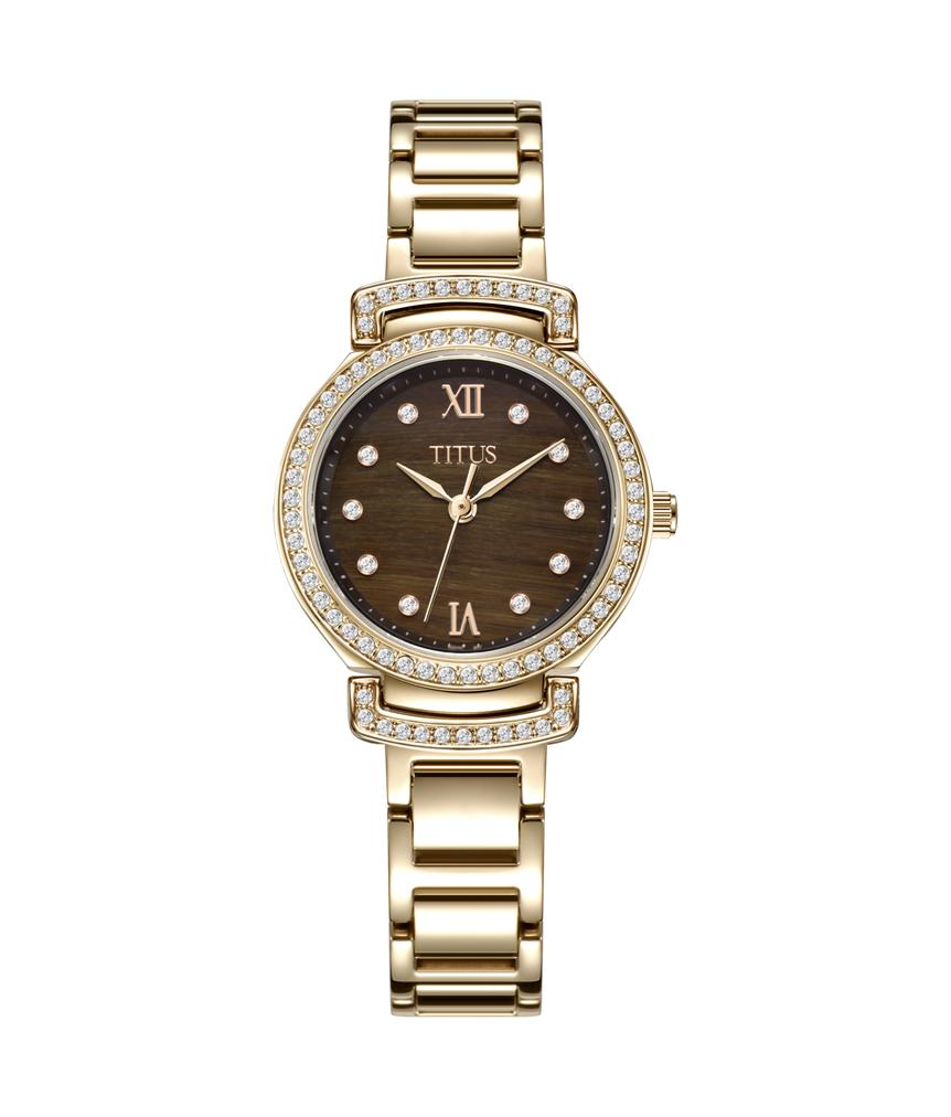 Fair Lady 3 Hands Quartz Tiger Eyes Stainless Steel Watch