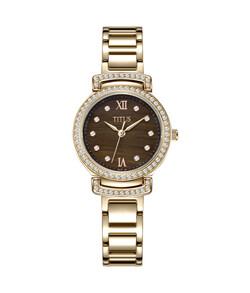 Fair Lady三針石英虎眼石不鏽鋼腕錶