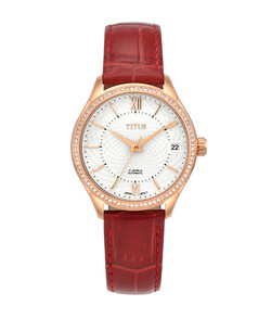 Exquisite三針日期顯示自動機械皮革腕錶